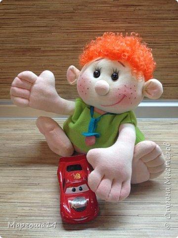 """Здравствуйте,жители Страны Мастеров!!! Сегодня покажу куколок -малышей сшитых из трикотажа .Идею взяла на сайте """"Рукодельные заметки"""". Рост двух малышей 22 см,а третьего - 13 см. Первая куколка - мальчик. фото 1"""