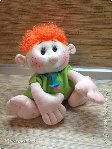 """Здравствуйте,жители Страны Мастеров!!! Сегодня покажу куколок -малышей сшитых из трикотажа .Идею взяла на сайте """"Рукодельные заметки"""". Рост двух малышей 22 см,а третьего - 13 см. Первая куколка - мальчик. фото 4"""