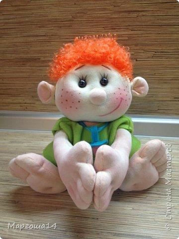 """Здравствуйте,жители Страны Мастеров!!! Сегодня покажу куколок -малышей сшитых из трикотажа .Идею взяла на сайте """"Рукодельные заметки"""". Рост двух малышей 22 см,а третьего - 13 см. Первая куколка - мальчик. фото 2"""