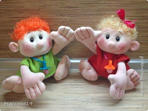 """Здравствуйте,жители Страны Мастеров!!! Сегодня покажу куколок -малышей сшитых из трикотажа .Идею взяла на сайте """"Рукодельные заметки"""". Рост двух малышей 22 см,а третьего - 13 см. Первая куколка - мальчик. фото 7"""