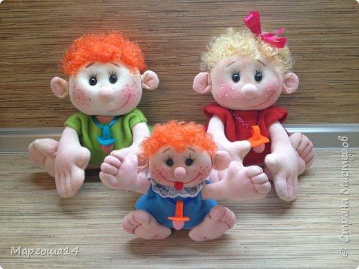 """Здравствуйте,жители Страны Мастеров!!! Сегодня покажу куколок -малышей сшитых из трикотажа .Идею взяла на сайте """"Рукодельные заметки"""". Рост двух малышей 22 см,а третьего - 13 см. Первая куколка - мальчик. фото 10"""
