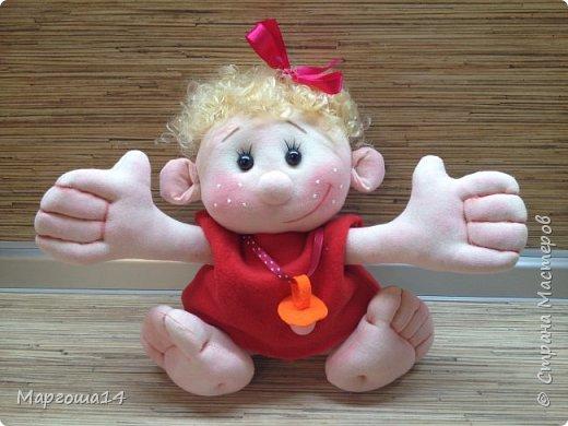 """Здравствуйте,жители Страны Мастеров!!! Сегодня покажу куколок -малышей сшитых из трикотажа .Идею взяла на сайте """"Рукодельные заметки"""". Рост двух малышей 22 см,а третьего - 13 см. Первая куколка - мальчик. фото 5"""