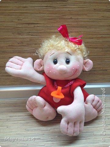 """Здравствуйте,жители Страны Мастеров!!! Сегодня покажу куколок -малышей сшитых из трикотажа .Идею взяла на сайте """"Рукодельные заметки"""". Рост двух малышей 22 см,а третьего - 13 см. Первая куколка - мальчик. фото 6"""