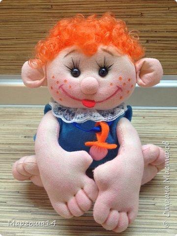 """Здравствуйте,жители Страны Мастеров!!! Сегодня покажу куколок -малышей сшитых из трикотажа .Идею взяла на сайте """"Рукодельные заметки"""". Рост двух малышей 22 см,а третьего - 13 см. Первая куколка - мальчик. фото 8"""