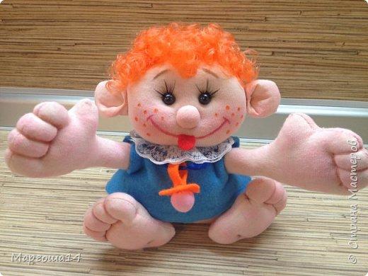 """Здравствуйте,жители Страны Мастеров!!! Сегодня покажу куколок -малышей сшитых из трикотажа .Идею взяла на сайте """"Рукодельные заметки"""". Рост двух малышей 22 см,а третьего - 13 см. Первая куколка - мальчик. фото 9"""