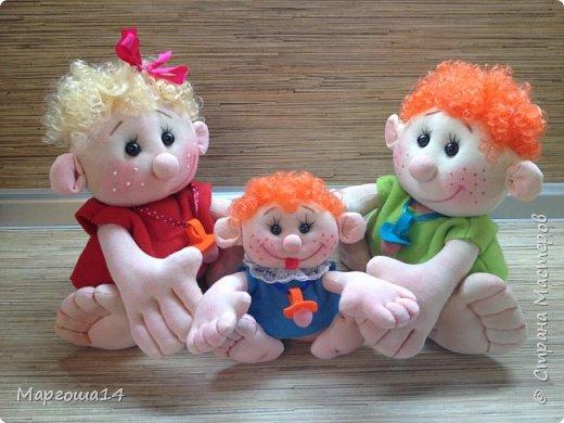 """Здравствуйте,жители Страны Мастеров!!! Сегодня покажу куколок -малышей сшитых из трикотажа .Идею взяла на сайте """"Рукодельные заметки"""". Рост двух малышей 22 см,а третьего - 13 см. Первая куколка - мальчик. фото 11"""