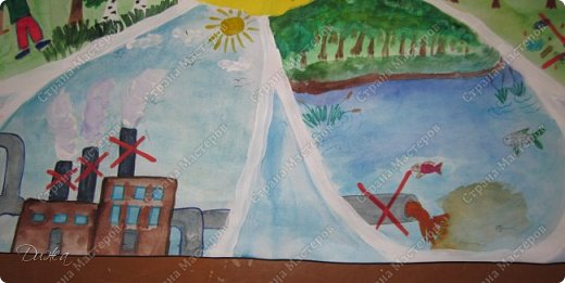 """Всем огромной приветик! Представляю мою первую стенгазету, которую я нарисовала на школьный конкурс. Плакат называется """"Мы за мир"""" На голубом фоне ромашка. Нарисовала на ватмане А1. Использовала акварельные краски, гуашь, акриловые краски, фломастеры и карандаши.  На лепестках всё что угрожает мирной жизни на земле.  фото 10"""