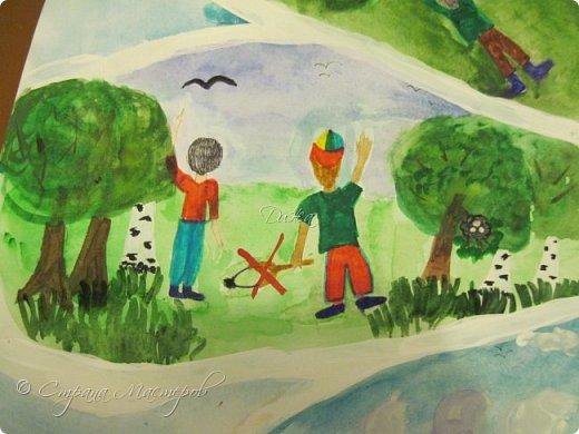 """Всем огромной приветик! Представляю мою первую стенгазету, которую я нарисовала на школьный конкурс. Плакат называется """"Мы за мир"""" На голубом фоне ромашка. Нарисовала на ватмане А1. Использовала акварельные краски, гуашь, акриловые краски, фломастеры и карандаши.  На лепестках всё что угрожает мирной жизни на земле.  фото 15"""