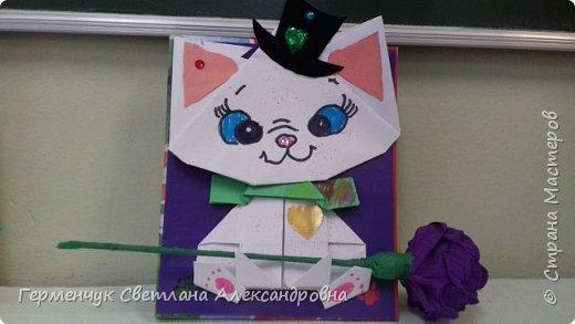 """Ко Дню Матери на уроке трудового обучения ( 14 октября) с  ребятами  3 """"А"""" класса сделали  открытки милым мамочкам.Идею  изготовления котенка -  оригами взяли  из Интернета, а украшали - каждый  на свой вкус Мальчишки  котенку надели цилиндр , а девочки - кошечкам завязали  бантики,в лапки - розы. фото 3"""