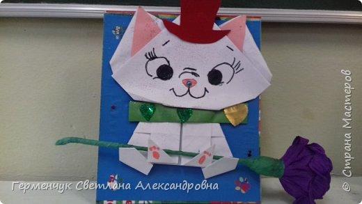 """Ко Дню Матери на уроке трудового обучения ( 14 октября) с  ребятами  3 """"А"""" класса сделали  открытки милым мамочкам.Идею  изготовления котенка -  оригами взяли  из Интернета, а украшали - каждый  на свой вкус Мальчишки  котенку надели цилиндр , а девочки - кошечкам завязали  бантики,в лапки - розы. фото 6"""