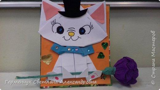 """Ко Дню Матери на уроке трудового обучения ( 14 октября) с  ребятами  3 """"А"""" класса сделали  открытки милым мамочкам.Идею  изготовления котенка -  оригами взяли  из Интернета, а украшали - каждый  на свой вкус Мальчишки  котенку надели цилиндр , а девочки - кошечкам завязали  бантики,в лапки - розы. фото 7"""
