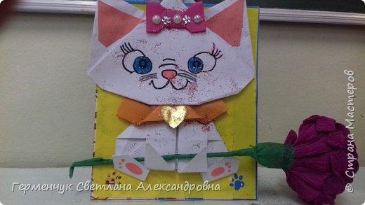 """Ко Дню Матери на уроке трудового обучения ( 14 октября) с  ребятами  3 """"А"""" класса сделали  открытки милым мамочкам.Идею  изготовления котенка -  оригами взяли  из Интернета, а украшали - каждый  на свой вкус Мальчишки  котенку надели цилиндр , а девочки - кошечкам завязали  бантики,в лапки - розы. фото 11"""