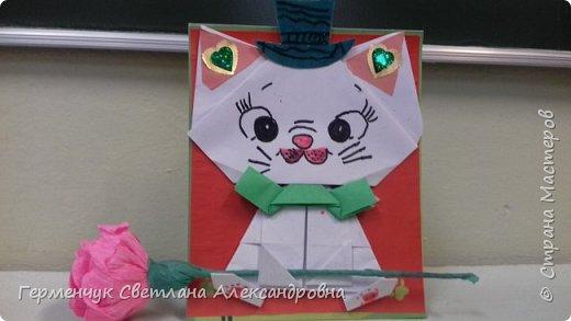 """Ко Дню Матери на уроке трудового обучения ( 14 октября) с  ребятами  3 """"А"""" класса сделали  открытки милым мамочкам.Идею  изготовления котенка -  оригами взяли  из Интернета, а украшали - каждый  на свой вкус Мальчишки  котенку надели цилиндр , а девочки - кошечкам завязали  бантики,в лапки - розы. фото 23"""