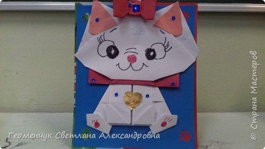 """Ко Дню Матери на уроке трудового обучения ( 14 октября) с  ребятами  3 """"А"""" класса сделали  открытки милым мамочкам.Идею  изготовления котенка -  оригами взяли  из Интернета, а украшали - каждый  на свой вкус Мальчишки  котенку надели цилиндр , а девочки - кошечкам завязали  бантики,в лапки - розы. фото 26"""