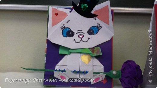 """Ко Дню Матери на уроке трудового обучения ( 14 октября) с  ребятами  3 """"А"""" класса сделали  открытки милым мамочкам.Идею  изготовления котенка -  оригами взяли  из Интернета, а украшали - каждый  на свой вкус Мальчишки  котенку надели цилиндр , а девочки - кошечкам завязали  бантики,в лапки - розы. фото 29"""