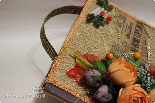 Оформление коробки конфет в виде портфеля. фото 1