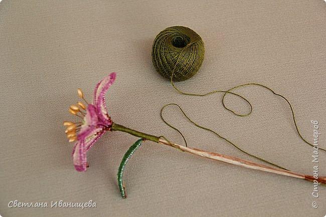 Букет замечательных лилий выполнен в технике французского плетения из бисера. Авторы работы: Анисимова Алина и Камышан Вероника. Особенно букеты из бисера любят мамы и бабушки, поэтому данный букет может послужить подарком ко Дню матери, на 8 марта или День рождения. фото 19