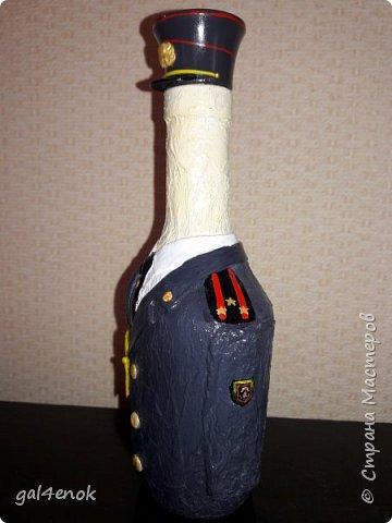 Всем доброго дня. Увидела работы  ~ Tat-Evg.Татьяна ~  и её бутылочки: http://stranamasterov.ru/node/938811?c=favorite .Спасибо её огромное за идею и фантазию. И загорелась идеей сделать повторюшку, только по форме полковника Департамента Охраны РБ. Там муж проработал 24 года. И вот такой результат... фото 3