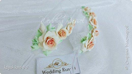 Набор свадебных аксессуаров «Чайная роза». Свадьба — самый волнительный день. В нем все должно быть идеально. Утонченная романтичность чайных роз подчеркнет легкую чувственность этого праздника. фото 3