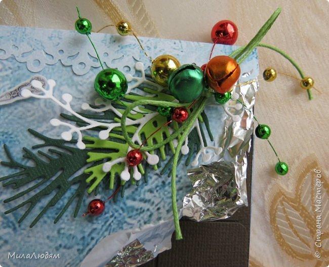 """Люди добрые, простите меня, что не умею загружать мало фото, и мучаю вас большим количеством. Сегодня я к вас со своими первыми шоколадницами созданными для  II ЭТАП """"Открытка-шоколадница""""   http://blog.agiart.ru/2017/10/2.html ТЕМА - Новый год, Рождество, зима ФОРМА - открытка-упаковка для шоколада ОЭ (обязательный элемент) - цвет и фактура плитки шоколада фото 9"""