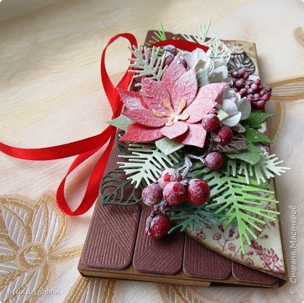 """Люди добрые, простите меня, что не умею загружать мало фото, и мучаю вас большим количеством. Сегодня я к вас со своими первыми шоколадницами созданными для  II ЭТАП """"Открытка-шоколадница""""   http://blog.agiart.ru/2017/10/2.html ТЕМА - Новый год, Рождество, зима ФОРМА - открытка-упаковка для шоколада ОЭ (обязательный элемент) - цвет и фактура плитки шоколада фото 28"""