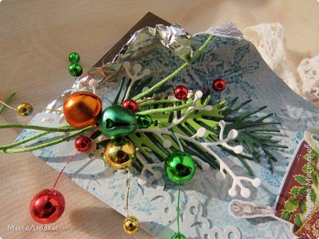 """Люди добрые, простите меня, что не умею загружать мало фото, и мучаю вас большим количеством. Сегодня я к вас со своими первыми шоколадницами созданными для  II ЭТАП """"Открытка-шоколадница""""   http://blog.agiart.ru/2017/10/2.html ТЕМА - Новый год, Рождество, зима ФОРМА - открытка-упаковка для шоколада ОЭ (обязательный элемент) - цвет и фактура плитки шоколада фото 34"""