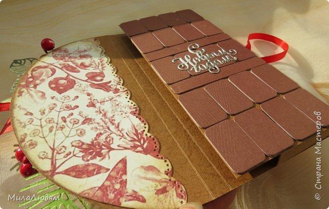 """Люди добрые, простите меня, что не умею загружать мало фото, и мучаю вас большим количеством. Сегодня я к вас со своими первыми шоколадницами созданными для  II ЭТАП """"Открытка-шоколадница""""   http://blog.agiart.ru/2017/10/2.html ТЕМА - Новый год, Рождество, зима ФОРМА - открытка-упаковка для шоколада ОЭ (обязательный элемент) - цвет и фактура плитки шоколада фото 46"""