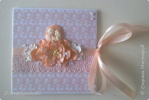 """Доброго дня всем!!!Хочу показать вам свою новую работу-конверт для диска со свадебной фотосессии,или можно использовать как открытку для поздравлений и денежного подарка/сертификата.Для основы использовала акварельную бумагу,верх-бумага для скрапбукинга  15х15 """"Чай vs Кофе"""" от Polkadot (прислали в подарок за заказ в интернет-магазине),бумажные цветы,немного дырокольностей, кружево,атласная лента,полубусины и камея с изображением молодоженов из запасов хомячка)).Внутри-акварельная бумага(кармашки) и однотонная бумага для скрапбукинга.Приглашаю вас к просмотру) фото 1"""