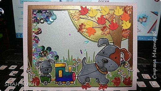 Я уже показывала этот вариант ранее, вот тут - http://stranamasterov.ru/node/1102557 Ну, я принесла на работу показать девочкам, они давно просили показать мои открытки... а тут,  у моей няни у внука день рождения должен был быть...1 годик! Так она мне заказала этого щенка сделать... вот я и сделала 2 варианта на выбор.. Это первый вариант. фото 1