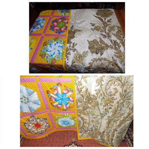 """Начну сегодняшний показ со свежей работы, это двухспальное одеяло закончила вчера вечером. Сшила в подарок. Размер получился 195х215 см Это второе одеяло, сшитое мной из блоков """"калейдоскоп"""". Назвала я его """"Одеяло """"Из сказки"""". Почему? фото 10"""