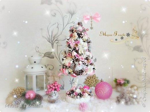 Добрый вечер!!!Спешу поделиться своими новогодними елочками. Нежно- розовая елочка  в стиле шебби. фото 6