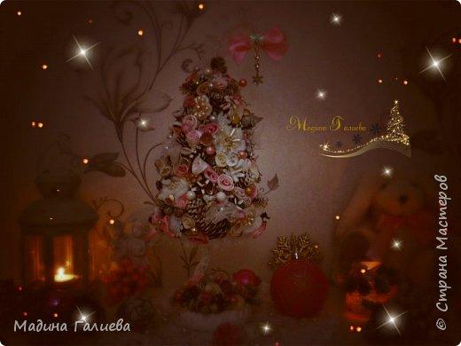 Добрый вечер!!!Спешу поделиться своими новогодними елочками. Нежно- розовая елочка  в стиле шебби. фото 2