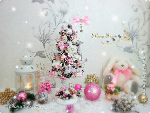 Добрый вечер!!!Спешу поделиться своими новогодними елочками. Нежно- розовая елочка  в стиле шебби. фото 1