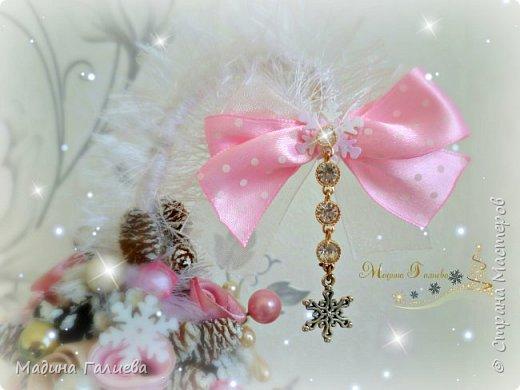 Добрый вечер!!!Спешу поделиться своими новогодними елочками. Нежно- розовая елочка  в стиле шебби. фото 3