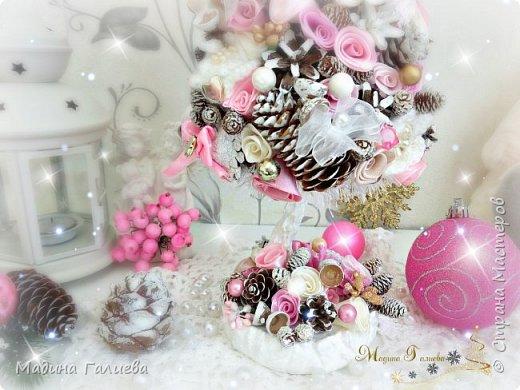 Добрый вечер!!!Спешу поделиться своими новогодними елочками. Нежно- розовая елочка  в стиле шебби. фото 7