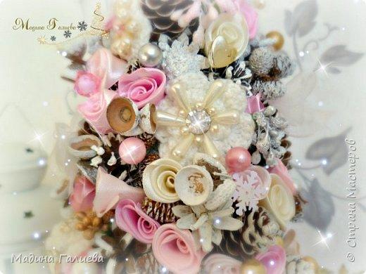 Добрый вечер!!!Спешу поделиться своими новогодними елочками. Нежно- розовая елочка  в стиле шебби. фото 5