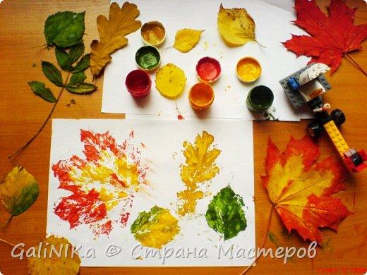 На этой неделе нашлось занятие для моего трёхлетнего внука.  Мы печатаем листья! фото 24