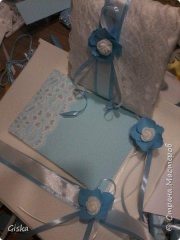 Свадебный комплект- подушечка для колец,альбом для пожеланий,и для свидетелей. фото 1