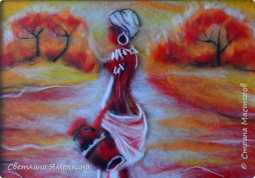 """Здравствуйте, дорогие жители СМ! На улице пасмурная осень, а мне сегодня захотелось чего-то яркого и жаркого. Решала нарисовать картину шерстью. Я уже делала подобную работу """"Африка"""" и благополучно ее подарила. Делала на основе картинки из интернета (автор не известен). Размер - 21х30 см. фото 7"""