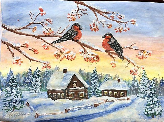 Приветствую всех мастериц и мастеров!  Сподобилась на снегирей по МК Ольги Уралочки — http://stranamasterov.ru/node/874612  Рисовала гуашью на альбомном листе. фото 1