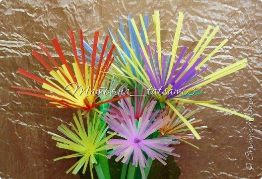 Придумались недавно у меня такие цветочки. Они простые, но забавные, моим знакомым понравились, поэтому решила их выложить. Можно использовать такие цветы как недорогое, но симпатичное украшение стола, можно украсить цветочный горшок или клумбу на даче. Так как они просты в изготовлении, их можно сделать вместе с детьми или использовать в каком-нибудь коллаже. Цветы из пластиковых трубочек в интернете встречаются, но сделанные по другой технологии, из срезанных наискосок кусочков трубочек. Цветы получаются похожие на георгины, красиво,но кончики лепестков получаются очень! острые. По-моему, это небезопасно, особенно при работе с детьми. Таких цветов, как у меня, не встретила.  фото 22