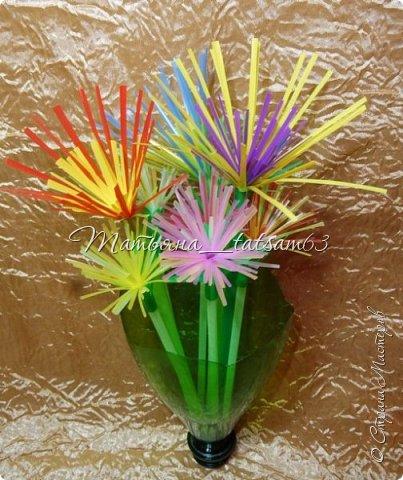 Придумались недавно у меня такие цветочки. Они простые, но забавные, моим знакомым понравились, поэтому решила их выложить. Можно использовать такие цветы как недорогое, но симпатичное украшение стола, можно украсить цветочный горшок или клумбу на даче. Так как они просты в изготовлении, их можно сделать вместе с детьми или использовать в каком-нибудь коллаже. Цветы из пластиковых трубочек в интернете встречаются, но сделанные по другой технологии, из срезанных наискосок кусочков трубочек. Цветы получаются похожие на георгины, красиво,но кончики лепестков получаются очень! острые. По-моему, это небезопасно, особенно при работе с детьми. Таких цветов, как у меня, не встретила.  фото 38