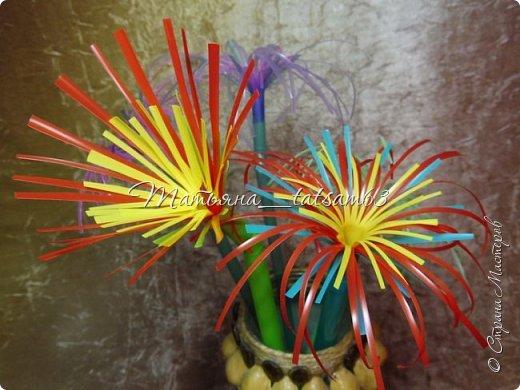Придумались недавно у меня такие цветочки. Они простые, но забавные, моим знакомым понравились, поэтому решила их выложить. Можно использовать такие цветы как недорогое, но симпатичное украшение стола, можно украсить цветочный горшок или клумбу на даче. Так как они просты в изготовлении, их можно сделать вместе с детьми или использовать в каком-нибудь коллаже. Цветы из пластиковых трубочек в интернете встречаются, но сделанные по другой технологии, из срезанных наискосок кусочков трубочек. Цветы получаются похожие на георгины, красиво,но кончики лепестков получаются очень! острые. По-моему, это небезопасно, особенно при работе с детьми. Таких цветов, как у меня, не встретила.  фото 36