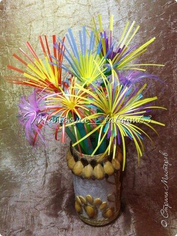 Придумались недавно у меня такие цветочки. Они простые, но забавные, моим знакомым понравились, поэтому решила их выложить. Можно использовать такие цветы как недорогое, но симпатичное украшение стола, можно украсить цветочный горшок или клумбу на даче. Так как они просты в изготовлении, их можно сделать вместе с детьми или использовать в каком-нибудь коллаже. Цветы из пластиковых трубочек в интернете встречаются, но сделанные по другой технологии, из срезанных наискосок кусочков трубочек. Цветы получаются похожие на георгины, красиво,но кончики лепестков получаются очень! острые. По-моему, это небезопасно, особенно при работе с детьми. Таких цветов, как у меня, не встретила.  фото 48