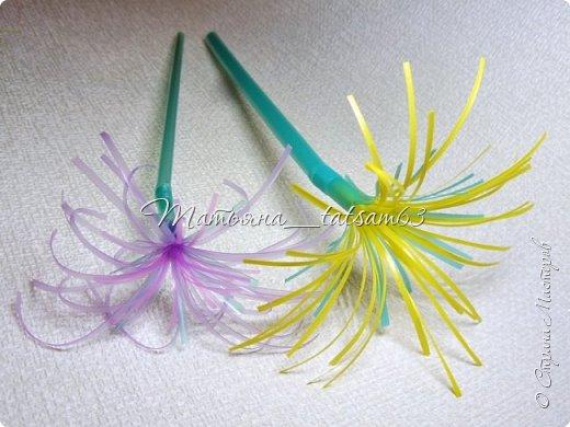 Придумались недавно у меня такие цветочки. Они простые, но забавные, моим знакомым понравились, поэтому решила их выложить. Можно использовать такие цветы как недорогое, но симпатичное украшение стола, можно украсить цветочный горшок или клумбу на даче. Так как они просты в изготовлении, их можно сделать вместе с детьми или использовать в каком-нибудь коллаже. Цветы из пластиковых трубочек в интернете встречаются, но сделанные по другой технологии, из срезанных наискосок кусочков трубочек. Цветы получаются похожие на георгины, красиво,но кончики лепестков получаются очень! острые. По-моему, это небезопасно, особенно при работе с детьми. Таких цветов, как у меня, не встретила.  фото 31