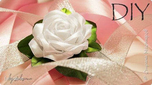 Пышная роза из атласной ленты на зажимах | канзаши