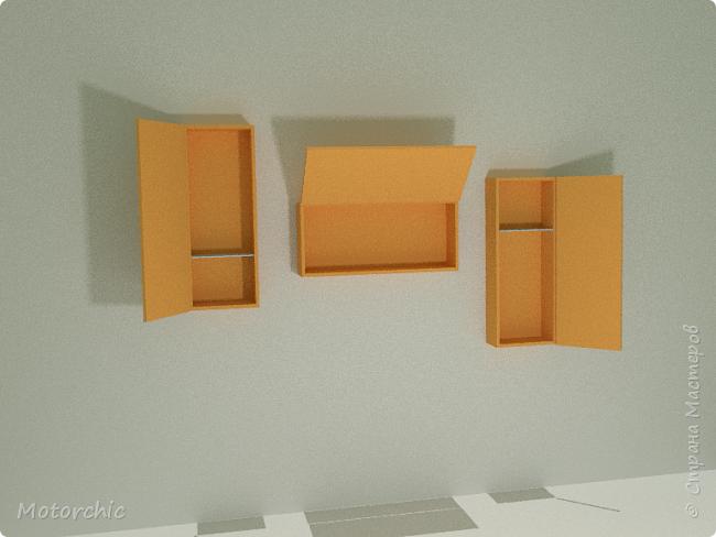 """После длительного перерыва в проектировании мебели я снова взялась за это дело. Новый мебельный проект - комплект """"Оранжевое настроение"""". Кроме непосредственно функции хранения он также обладает """"выставочной площадью"""", на которой можно менять """"экспонаты"""" по настроению. фото 8"""