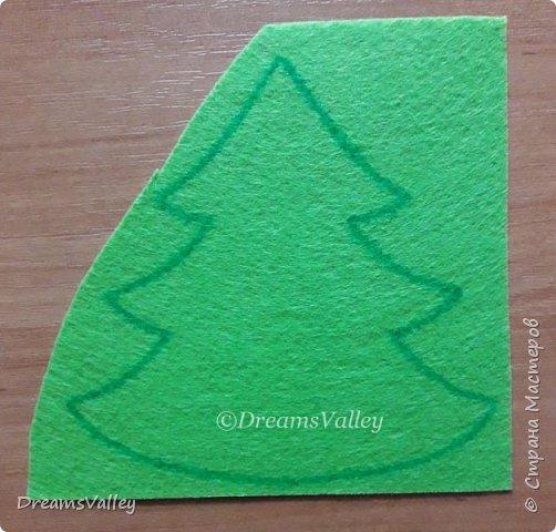 Как Вам такой вариант маленького новогоднего подарочка? Если он пришелся Вам по душе, то, давайте, изготовим его вместе.  Для работы нам понадобится:  - бумага для выкройки - карандаш - фетр - маркер по ткани - нитки и иголка - ножницы - джутовый шпагат (веревочка или лента) - контур по ткани  - скотч - холлофайбер или синтепух - палочка для суши (для набивки) - декор - термопистолет и термоклей  фото 4