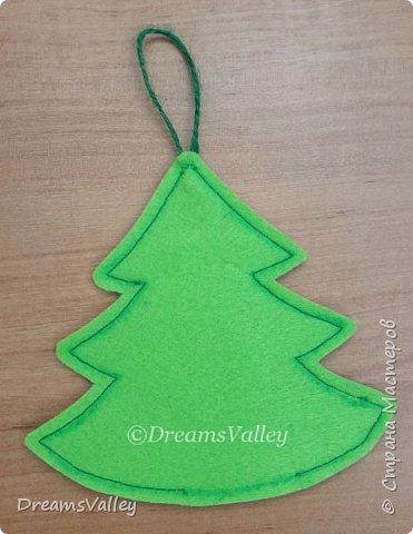 Как Вам такой вариант маленького новогоднего подарочка? Если он пришелся Вам по душе, то, давайте, изготовим его вместе.  Для работы нам понадобится:  - бумага для выкройки - карандаш - фетр - маркер по ткани - нитки и иголка - ножницы - джутовый шпагат (веревочка или лента) - контур по ткани  - скотч - холлофайбер или синтепух - палочка для суши (для набивки) - декор - термопистолет и термоклей  фото 9