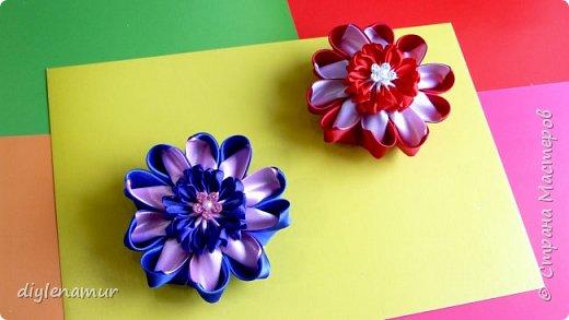 Цветы канзаши из атласной ленты 5см. Видео мастер-класс